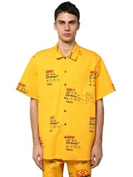 Off White Industrial Printed Cotton Canvas Shirt Yellow