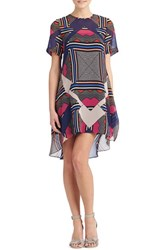 Women's Donna Morgan Print Chiffon High Low Trapeze Dress