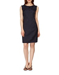 Kay Unger Embroidered Silk Sheath Dress Navy