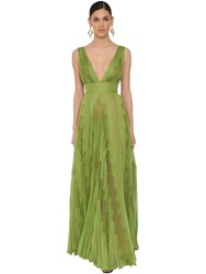 Zuhair Murad Long V Neck Pleated Chiffon And Lace Dress Green