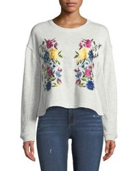 Chelsea And Theodore Floral Embroidered Crop Sweatshirt Gray