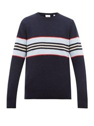Burberry Striped Cashmere Sweater Navy