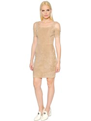 Drome Cut Out Shoulder Stretch Suede Dress