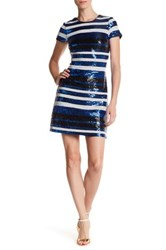 Guess Short Sleeve Sequin Dress Blue