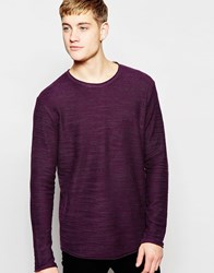 Jack And Jones Jack And Jones Knitted Jumper With Raw Edge Plum Purple