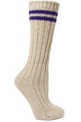The Elder Statesman Yosemite Striped Ribbed Cashmere Socks White