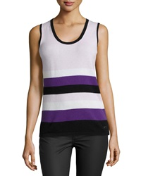 Escada Sleeveless Scoop Neck Striped Knit Top X