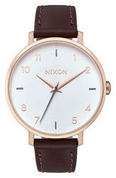 Nixon Women's The Arrow Leather Strap Watch 38Mm Brown White Rose Gold