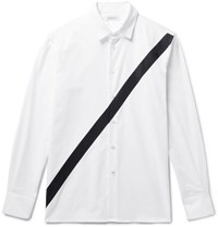 Public School Neruda Grosgrain Trimmed Cotton Oxford Shirt White