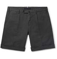 Incotex Slim Fit Garment Dyed Linen And Cotton Blend Shorts Charcoal