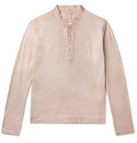 Massimo Alba Hawai Watercolour Dyed Cotton Henley T Shirt Neutrals