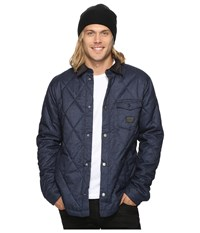 Quiksilver Marbling Quilted Jacket Navy Blazer Heather Men's Coat Gray