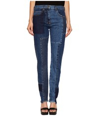 Mcq By Alexander Mcqueen Patched Patti Jeans Indigo Women's Jeans Blue