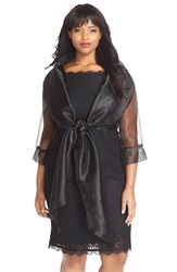 Adrianna Papell Organza Crop Jacket Plus Size Black