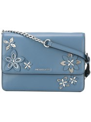 Michael Michael Kors Floral Applique Shoulder Bag Blue