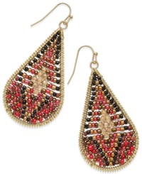 Thalia Sodi Gold Tone Red Beaded Teardrop Earrings Only At Macy's