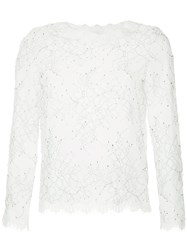 Huishan Zhang Lace Embroidered Blouse White