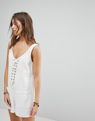 Billabong Lace Up Beach Playsuit Cool Wip White