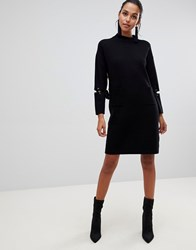 Liquorish Long Jumper Dress With Front Pockets And Lacing Detail On Sleeves Black