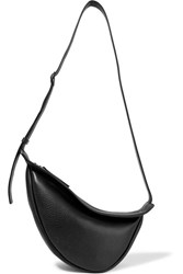 The Row Slouchy Banana Textured Leather Shoulder Bag Black