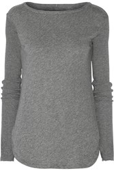 Enza Costa Cotton And Cashmere Blend Top Gray