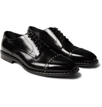Jimmy Choo Parris Studded Polished Leather Derby Shoes Black