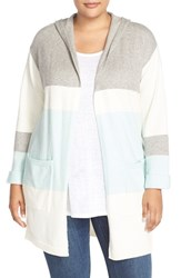 Plus Size Women's Vince Camuto Colorblock Stripe Hooded Sweater Coat