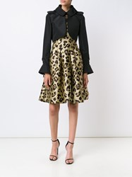 Carolina Herrera Bell Sleeves Cropped Jacket Black