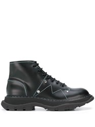 Alexander Mcqueen Stitched Chunky Ankle Boots Black
