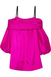 Isa Arfen Off The Shoulder Silk Taffeta Dress Fuchsia