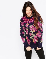 Bellfield High Neck Chunky Knit Jumper In Rose Print Multi