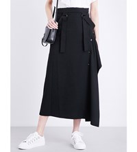 Yohji Yamamoto Suspender Detail High Rise Wool Skirt Black