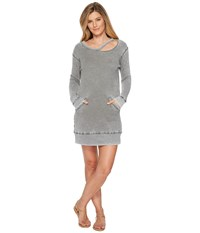 Allen Allen Long Sleeve Cut Neck Crew Dress Cilantro Green