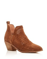 Sigerson Morrison Bonnie Perforated Mid Heel Booties Tan