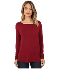 Cj By Cookie Johnson Long Sleeve Pocket Tee Burgundy Women's Long Sleeve Pullover