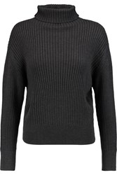 Toteme Verbier Ribbed Cotton And Merino Wool Blend Turtleneck Sweater Gray