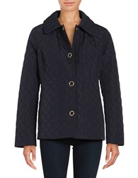 Anne Klein Long Sleeve Quilted Jacket Navy
