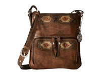 American West Native Sun Crossbody Wallet Distressed Charcoal Brown Sand Golden Tan Turquoise Cross Body Handbags