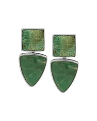 Carved Turquoise And Chrysoprase Clip On Earrings Stephen Dweck Silver