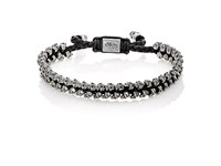 M Cohen M. Men's Skull Beads And Braided Cord Bracelet Black