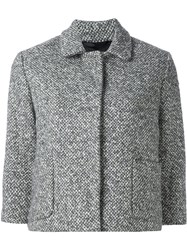Eleventy Button Down Cropped Jacket Grey
