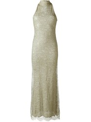 Romeo Gigli Vintage Lace Overlay Evening Dress Metallic