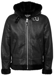 Schott Nyc Black Shearling Lined Leather Jacket