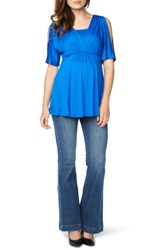 Maternal America Women's Split Sleeve Maternity Nursing Top Royal
