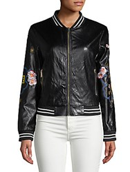 Saks Fifth Avenue Red Embroidered Faux Leather Bomber Jacket Black