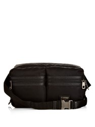 Dolce And Gabbana Vulcano Leather Trim Nylon Waist Pouch Black