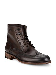 Magnanni Tooled Leather Lace Up Boots Brown
