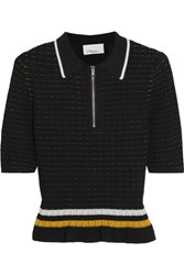 3.1 Phillip Lim Striped Smocked Stretch Cotton Top Black