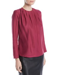 Kiton Ruched Neck Long Sleeve Silk Blouse Cherry