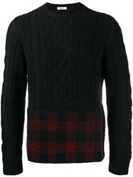 Valentino Cable Knit And Tartan Jumper Black